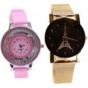NEUTRON New Rich Flower And Paris Eiffel Tower Pink And Silver Color Combo Watch (G88-G190) For Girls And Women Watch - For Women