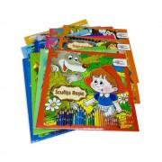 Set 12 Carti de Colorat cu Povesti Diferite pe Limba Romana, 24 Pagini/Carte, 225x240 mm, Povesti Clasice
