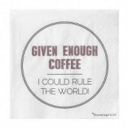 "Pachet Servetele "" Given Enough Coffee... "" Alb/Mov/Negru, l25xL25 cm, 20 buc/pachet"