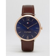 Tommy Hilfiger Ultra Slim Brown Leather Watch With Gold Dial 1710354 - Brown