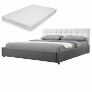 MyBed Cama tapizada acolchada + colchón 140x200cm blanco/gris cuero sintético - Castillo de Bayuela