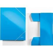 Mapa LEITZ Wow carton cu elastic - albastru metalizat