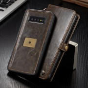 CASEME Qin Series Split Leather Wallet Case + Detachable Phone Cover for Samsung Galaxy S10 Plus - Brown