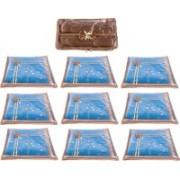 Annapurna Sales Designer Front Transparent Single Saree Cover and Churi/Bangles Case - Set of 10 Pcs. Golden00395(Golden)