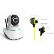 Zemini Wifi CCTV Camera and Jogger Bluetooth Headset for SAMSUNG GALAXY CORE LITE(Wifi CCTV Camera with night vision |Jogger Bluetooth Headset With Mic )
