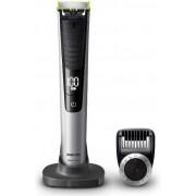 Aparat hibrid de barbierit si tuns barba Philips OneBladePro QP6520/20, Pieptene de precizie cu 12 lungimi, Stand, Husa, Acumulatori (Negru) + Sac One Blade