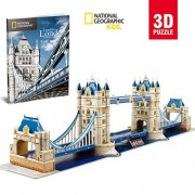 CubicFun National Geographic Tower Bridge 3D Puzzle City Architecture Model with Booklet, Ds0978H