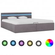 vidaXL Легло с повдигащ механизъм с LED, таупе, текстил, 180x200 см