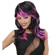Merkloos Zwart met roze punk pruik