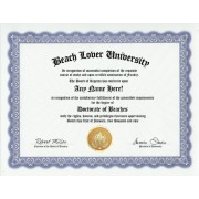 Beach Lover Beaches Degree: Custom Gag Diploma Doctorate Certificate (Funny Customized Joke Gift - Novelty Item)