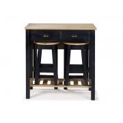 CONFORAMA Ensemble table pliante + 2 tabourets en bois massif SHARONA coloris noir