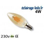 Ampoule led E14 flamme mordoré 4w Blanc Chaud 230V ref e14-07