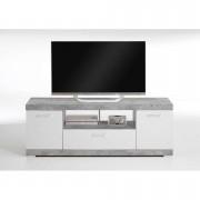 TV-meubel Bristol - betonkleur/wit edelglans - 160x59x42 cm - Leen Bakker