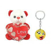 Tickles I Love You Love Heart Teddy And Kissing Smiley Key Rings Soft Toy (Red)