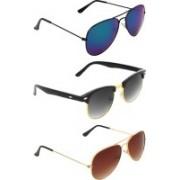 Zyaden Aviator, Clubmaster, Aviator Sunglasses(Blue, Black, Brown)