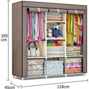 RBSHOPPY 8 shelfs and 2 hanger folding wardrobe wrought iron structure and fabric cloth cover