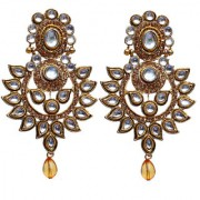 Lucky Jewellery Trendy White Golden Color Gold Plating Kundan Stone Earring For Girls & Women