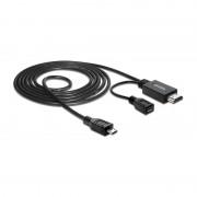 Delock Cable MHL male High Speed HDMI male + USB-micro B f