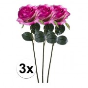 Bellatio flowers & plants 3x Paars/roze rozen Simone kunstbloemen 45 cm