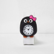 River Island Girls White penguin snap on watch (One Size)