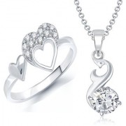 VK Jewels Solitaire Pendant & Heart Ring Rhodium Plated Alloy Combo with Chain for Women & Girls made with Cubic Zirconia - COMBO1472R [VKCOMBO1472R8]