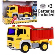 Dump Truck Toy Friction Powered Construction Trucks Toys for Kids Builder Vehicle for Boys with Lights and Sound 4 Wheels 1:20 Advanced Simulation Model-Engineering Series Red and Yellow by Fun Little Toys