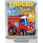Trucks and Things That Go Coloring and Activity Book Bonus Stickers - Foil Cover