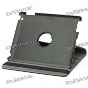 funda protectora de cuero de la PU del sostenedor de la rotacion de 360 ??grados para el ipad 2 - negro