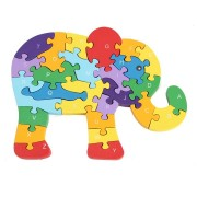 Wooden Elephant Puzzle Jigsaw Numbers Alphabet Educational Toy