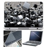 FineArts Laptop Skin 3D Cubes White & Black With Screen Guard and Key Protector - Size 15.6 inch