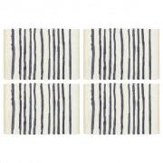 vidaXL Подложки за хранене, 4 бр, синьо и бяло, 30x45 см, памук