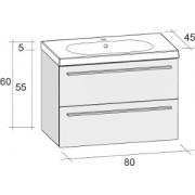 Ansamblu mobilier Riho cu lavoar ceramic 80cm gama Belluno, Set 05 Standard