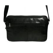 Skórzna torba na ramię z wyjmowaną kieszenią na laptopa - czarna
