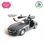 Smiles Creation Kinsmart 1:36 Scale Pull Back Mercedes-Benz SLS AMG Car with Gull-Wing Style Door Opening Toys, Gray (5-inch)