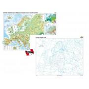 Europa. Harta fizico-geografică şi a principalelor resurse naturale de subsol – Duo 160x120 cm