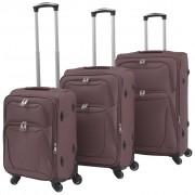 vidaXL Комплект от 3 броя меки куфари на колелца, цвят кафе