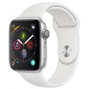 Watch, Apple Series 4 GPS, 44mm Silver Aluminium Case with White Sport Band (MU6A2WB/A)