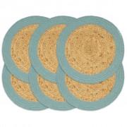 vidaXL Подложки за хранене 6 бр натурално и зелено 38 см юта и памук