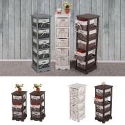 Regal Kommode mit 5 Korbschubladen 90x25x28cm, Shabby-Look, Vintage ~ Variantenangebot