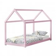 [en.casa]® Gyermekágy házikó formájú gyerekágy 200x90 cm rózsaszín