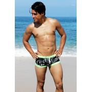 Icker Sea Letters Square Cut Trunk Swimwear Black/Lime Green COB-15-15