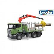 Bruder camion trasporto legname scania r-series con braccio e tronchi 3524