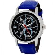 Golden Bell Men'S Blue & Black Round Genuine Leather Strap Wrist Watch (185Gb)