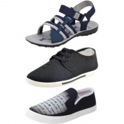 Chevit Men's Combo Pack of 3 Sandal & Casual Shoes (Loafers Sneakers & Floaters Sandals) TR-601+109+154-6