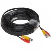 Cablu mufat si sertizat pentru camere supraveghere BNC+DC - 20 metri
