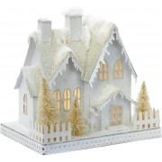 Goodwill Kersthuisje met LED verlichting Sneeuw Wit-Beige 24 cm