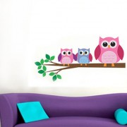 Walltola Wall Sticker - Three Owls On Branch 7238 (Dimensions 80x50cm)