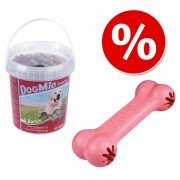 Lot : Os Puppy KONG + friandises DogMio Barkis 500 g - Os Puppy KONG + friandises DogMio Barkis 500 g