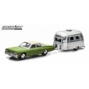 1974 Dodge Monaco Green & Airstream Trailer Bambi 16 Hitch & Tow Series 2 1/64 by Greenlight 32020A