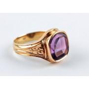 Pánský zlatý prsten s ametystem